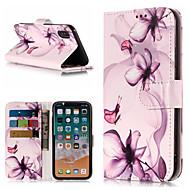 Недорогие Кейсы для iPhone 8-Кейс для Назначение Apple iPhone X / iPhone 8 Plus Кошелек / Бумажник для карт / со стендом Чехол Цветы Твердый Кожа PU для iPhone X / iPhone 8 Pluss / iPhone 8