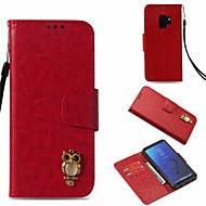 Недорогие Чехлы и кейсы для Galaxy S-Кейс для Назначение SSamsung Galaxy S9 Кошелек / Бумажник для карт / со стендом Чехол Сова Твердый Кожа PU для S9