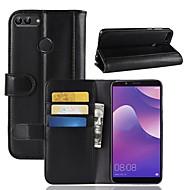 お買い得  携帯電話ケース-ケース 用途 Huawei Y9 (2018)(Enjoy 8 Plus) / Y7 Prime (2018) ウォレット / カードホルダー / スタンド付き フルボディーケース ソリッド ハード 本革 のために Y9 (2018)(Enjoy 8 Plus) / Huawei Y7 Prime(Enjoy 7 Plus) / Y7 Prime (2018)
