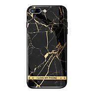 Недорогие Кейсы для iPhone 8 Plus-Кейс для Назначение Apple iPhone X / iPhone 8 Plus Зеркальная поверхность / С узором Кейс на заднюю панель Слова / выражения / Мрамор Твердый Закаленное стекло для iPhone X / iPhone 8 Pluss / iPhone 8