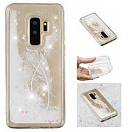 Недорогие Чехлы и кейсы для Galaxy S9-Кейс для Назначение SSamsung Galaxy S9 Plus / S9 Движущаяся жидкость / С узором / Сияние и блеск Кейс на заднюю панель Перья / Сияние и блеск Мягкий ТПУ для S9 / S9 Plus / S8 Plus