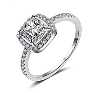 cheap Jewelry & Watches-Women's Cubic Zirconia Stack Ring Promise Ring - Platinum Plated Stylish, Romantic 6 / 7 / 8 / 9 White For Wedding Engagement