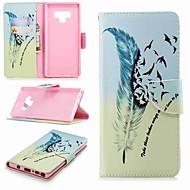Недорогие Чехлы и кейсы для Galaxy Note-Кейс для Назначение SSamsung Galaxy Note 9 / Note 8 Кошелек / Бумажник для карт / со стендом Чехол Перья Твердый Кожа PU для Note 5 / Note 4 / Note 3