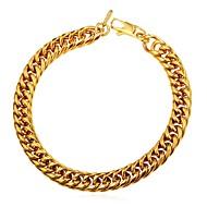 お買い得  -男性用 太い鎖 チェーン&リンクブレスレット  -  ステンレス鋼 創造的 ファッション ブレスレット ゴールド / ブラック / シルバー 用途 贈り物 日常