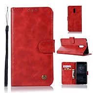 お買い得  携帯電話ケース-ケース 用途 Nokia Nokia 6 2018 / Nokia 5.1 ウォレット / カードホルダー / スタンド付き フルボディーケース ソリッド ハード PUレザー のために Nokia 8 / 8 Sirocco / Nokia 7 Plus