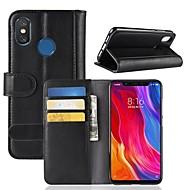 お買い得  携帯電話ケース-ケース 用途 Xiaomi Mi 8 / Mi 8 SE ウォレット / カードホルダー / スタンド付き フルボディーケース ソリッド ハード 本革 のために Xiaomi Redmi Note 5 Pro / Xiaomi Redmi注5 / Xiaomi Redmi Note 4X