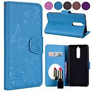preiswerte Handyhüllen-Hülle Für Nokia Nokia 8 / Nokia 3 Geldbeutel / Kreditkartenfächer / mit Halterung Ganzkörper-Gehäuse Schmetterling Hart PU-Leder für Nokia 8 / Nokia 5 / Nokia 3