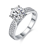 cheap Jewelry & Watches-Women's Cubic Zirconia Stack Ring - Platinum Plated, S925 Sterling Silver Romantic 6 / 7 / 8 / 9 Silver For Gift Daily