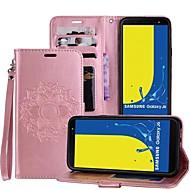 Недорогие Чехлы и кейсы для Galaxy J-Кейс для Назначение SSamsung Galaxy J6 / J4 Бумажник для карт / со стендом / Флип Чехол Мандала Твердый Кожа PU для J6 / J4