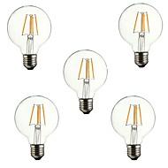 abordables Lámparas LED de Filamentos-5pcs 4 W 360 lm E26 / E27 Bombillas de Filamento LED G80 4 Cuentas LED COB Decorativa Blanco Cálido 220-240 V