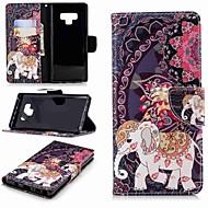 Недорогие Чехлы и кейсы для Galaxy Note 8-Кейс для Назначение SSamsung Galaxy Note 9 / Note 8 Кошелек / Бумажник для карт / со стендом Чехол Слон Твердый Кожа PU для Note 9 / Note 8