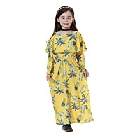 cheap -Kids Girls' Sweet Boho Daily Going out Beach Pineapple Fruit Long Sleeve Midi Polyester Dress Navy Blue