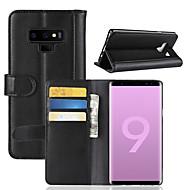 Недорогие Чехлы и кейсы для Galaxy Note-Кейс для Назначение SSamsung Galaxy Note 9 / Note 8 Кошелек / Бумажник для карт / Флип Чехол Однотонный Твердый Настоящая кожа для Note 9 / Note 8