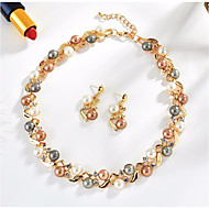 cheap Jewelry & Watches-Women's Freshwater Pearl Vintage Style Retro Jewelry Set - Leaf Vintage, Elegant Include Hoop Earrings Vintage Necklace Gold / Silver For Party Ceremony