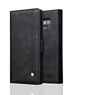 Недорогие Чехлы и кейсы для Galaxy Note-Кейс для Назначение SSamsung Galaxy Note 9 / Note 8 Кошелек Чехол Однотонный Твердый Настоящая кожа для Note 9 / Note 8