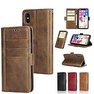 Недорогие Кейсы для iPhone 8-Кейс для Назначение Apple iPhone X / iPhone 8 Plus / iPhone XS Кошелек / Бумажник для карт / со стендом Чехол Однотонный Твердый Настоящая кожа для iPhone XS / iPhone XR / iPhone XS Max