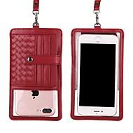 お買い得  携帯電話ケース-ケース 用途 Apple iPhone X / iPhone 8 Plus ウォレット / カードホルダー / スタンド付き ポーチ ライン/ウェイブ ハード 本革 のために iPhone X / iPhone 8 Plus / iPhone 8