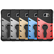 Недорогие Чехлы и кейсы для Galaxy S-Кейс для Назначение SSamsung Galaxy S7 Защита от удара / со стендом Кейс на заднюю панель Однотонный Твердый ПК для S7