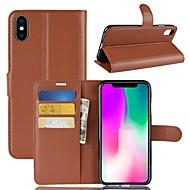 Недорогие Кейсы для iPhone 8-Кейс для Назначение Apple iPhone XS / iPhone XR Кошелек / Бумажник для карт / Флип Чехол Однотонный Твердый Кожа PU для iPhone XS / iPhone XR / iPhone XS Max