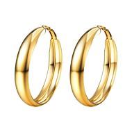 お買い得  -女性用 チャンクー フープピアス  -  ステンレス鋼 ファッション ゴールド / ブラック / シルバー 用途 贈り物 日常