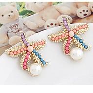 cheap -Women's 3D Stud Earrings - Imitation Pearl Starfish Stylish Rainbow For Daily
