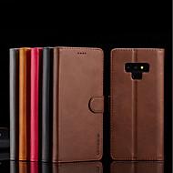 Недорогие Чехлы и кейсы для Galaxy Note-Кейс для Назначение SSamsung Galaxy Note 9 Кошелек / Бумажник для карт / со стендом Чехол Однотонный Твердый Кожа PU для Note 9 / Note 8