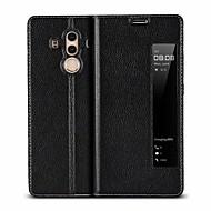 お買い得  携帯電話ケース-ケース 用途 Huawei Mate 10 pro / Mate 10 耐衝撃 / ウィンドウ付き / フリップ フルボディーケース ソリッド ハード 本革 のために Mate 10 / Mate 10 pro