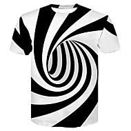 Rund hals Herre - Farveblok Trykt mønster Basale / Gade Natklub T-shirt Sort og hvid Hvid XXL / Kortærmet / Sommer