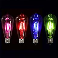 abordables Lámparas LED de Filamentos-4pcs 4 W 360 lm E26 / E27 Bombillas de Filamento LED ST64 4 Cuentas LED COB Fiesta / Decorativa / Vacaciones Rojo / Azul / Verde 220-240 V