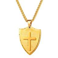 お買い得  -男性用 クラシック ペンダントネックレス  -  ステンレス鋼 十字架 クラシック, ヴィンテージ ゴールド, ブラック, シルバー 55 cm ネックレス ジュエリー 1個 用途 贈り物, 日常