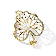 זול -בגדי ריקוד נשים זירקונה מעוקבת תפס לשיער פנינה ציפוי זהב Leaf Shape נשים טרנדי סִכָּה תכשיטים זהב עבור מתנה