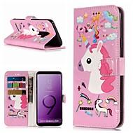 Недорогие Чехлы и кейсы для Galaxy S9 Plus-Кейс для Назначение SSamsung Galaxy S9 / S8 Plus Кошелек / Бумажник для карт / со стендом Чехол единорогом Твердый Кожа PU для S9 / S9 Plus / S8 Plus