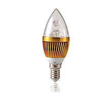 お買い得  LED キャンドルライト-3W 3000lm E14 LEDキャンドルライト C35 3 LEDビーズ ハイパワーLED 調光可能 装飾用 温白色 220-240V