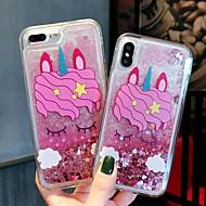 Недорогие Кейсы для iPhone 8-Кейс для Назначение Apple iPhone XR / iPhone XS Max Защита от удара / Движущаяся жидкость / Прозрачный Кейс на заднюю панель единорогом / Сияние и блеск Твердый ПК для iPhone XS / iPhone XR / iPhone
