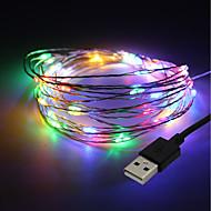billige -BRELONG® 10 m Lysslynger 100 lysdioder SMD 0603 Varm hvid / RGB / Hvid Vandtæt / Fest / Dekorativ 5 V 1pc