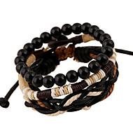 abordables -Homme Tressé Bracelets - Rétro, Européen, Mode Bracelet Noir Pour Quotidien