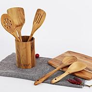 abordables Herramientas de Cocina-1pc Herramientas de cocina De madera Multifunción Cuchara descansa y clips de la olla De Uso Diario