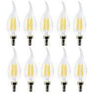abordables Luces LED en Vela-YWXLIGHT® 10pcs 4 W 300-400 lm E12 Luces LED en Vela / Bombillas de Filamento LED C35 4 Cuentas LED SMD Creativo Blanco Cálido / Blanco Fresco 110-130 V