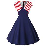 cheap -Women's Plus Size Daily Basic Sheath Dress - Solid Colored Striped High Waist V Neck Red XXL XXXL XXXXL / Sexy