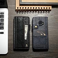 Недорогие Чехлы и кейсы для Galaxy S-CaseMe Кейс для Назначение SSamsung Galaxy S9 Plus Кошелек / Бумажник для карт / со стендом Чехол Однотонный Твердый Кожа PU для S9 Plus
