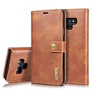 Недорогие Чехлы и кейсы для Galaxy Note 8-Кейс для Назначение SSamsung Galaxy Note 9 / Note 8 Бумажник для карт / Защита от удара / со стендом Чехол Однотонный Твердый Настоящая кожа для Note 9 / Note 8