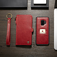 CaseMe Case For Samsung Galaxy S9 Wallet / Card Holder / Flip Full Body Cases Solid Colored Hard PU Leather for S9