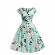 cheap -Women's Daily Street chic Chiffon Dress - Floral Print Sweetheart Neckline Summer Blue L XL XXL