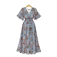 cheap -Women's Plus Size Daily Beach Street chic Elegant Maxi Slim Chiffon Dress - Floral Print V Neck Summer Blue Beige XXL XXXL XXXXL