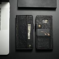 Недорогие Чехлы и кейсы для Galaxy S7 Edge-CaseMe Кейс для Назначение SSamsung Galaxy S7 edge Кошелек / Бумажник для карт / со стендом Чехол Однотонный Твердый Кожа PU для S7 edge