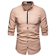 cheap -Men's Basic Shirt - Solid Colored Print