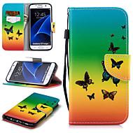 Недорогие Чехлы и кейсы для Galaxy S7 Edge-Кейс для Назначение SSamsung Galaxy S7 edge Кошелек / Бумажник для карт / Защита от удара Чехол Бабочка Твердый Кожа PU для S7 edge