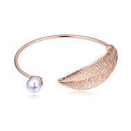 hesapli -Kadın's Klasik Halhallar - İmitasyon İnci Leaf Shape Avrupa, Moda, Zarif Bilezikler Mücevher Altın / Gümüş / Gül Altın Uyumluluk Parti Hediye