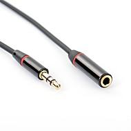 baratos -YONGWEI 3,5 milímetros de áudio Jack Cabo / Cabo de extensão, 3,5 milímetros de áudio Jack para 3,5 milímetros de áudio Jack Cabo / Cabo de extensão Macho-Fêmea Cobre banhado a ouro 1.0m (3 pés)