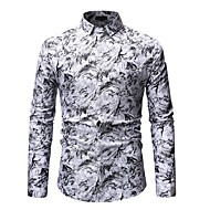 cheap -Men's Basic Shirt - Floral / Color Block Print